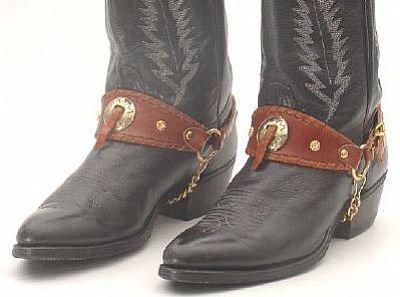 BC 605 Brown Laced Leather with Gold Concho