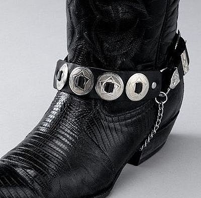Black Leather Boot Chains - Round Conchos