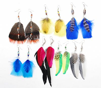 Feather Earrings, Assorted