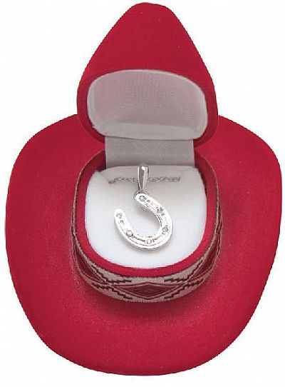 Horseshoe Necklace in Cowboy Hat Gift Box *RED*