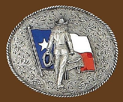 "Texas Flag with Cowgirl  3"" x 2-1/2"""